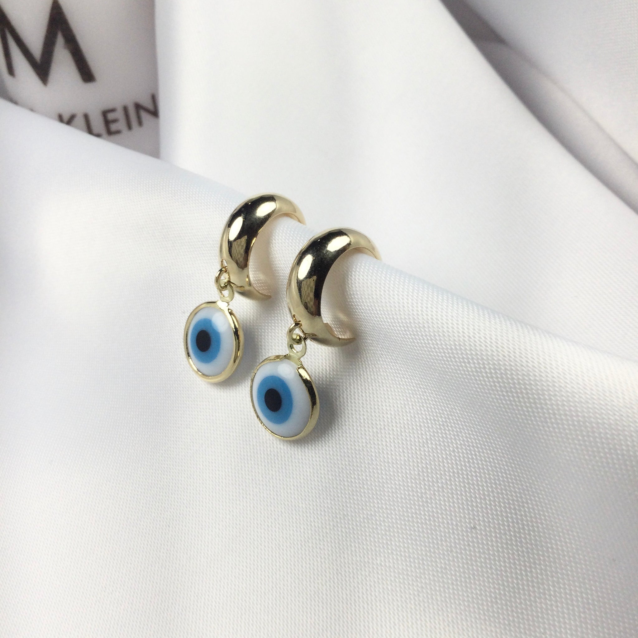 Evil Eye Earrings 18k Gold Plated