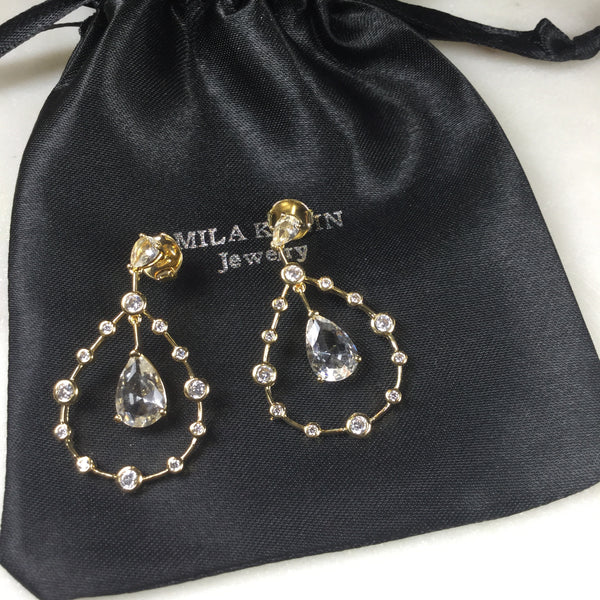Earrings Drop 18k Gold Plated & Crystal