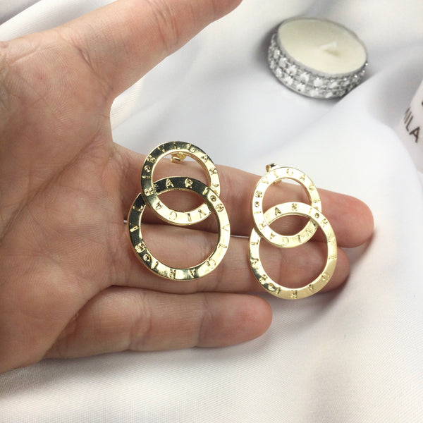 Famous Brand Inspired Earrings Bvl 18k Gold Plated