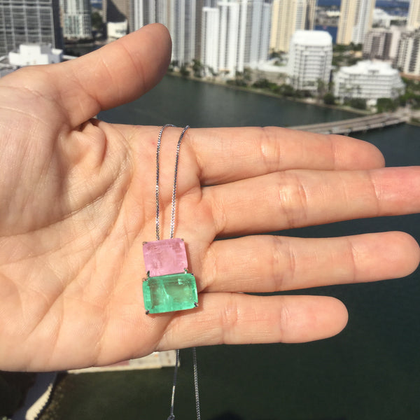 Necklace double rectangle emerald Colombian and light pink