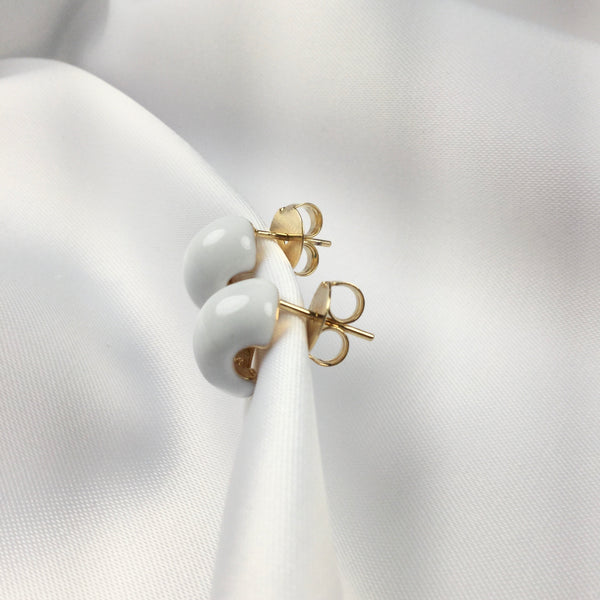 White Stud Earrings 18k Gold Plated