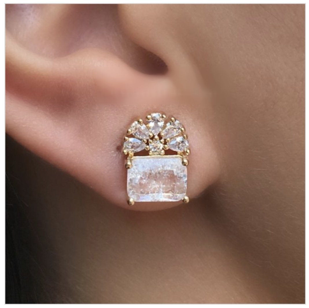 Rectangle Clear crystal flower earrings 18k gold plated