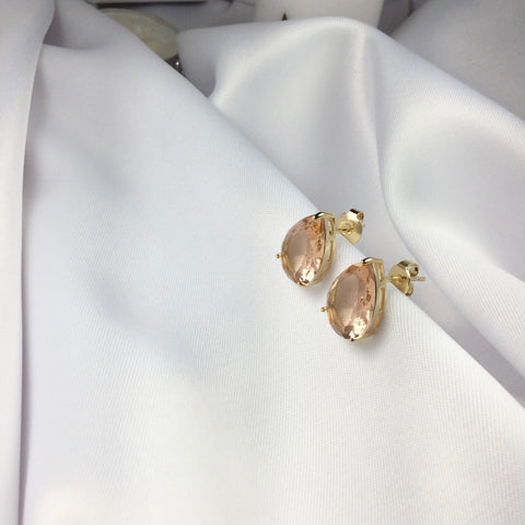 Peach Crystal Morganite Earrings 18k Gold Plated