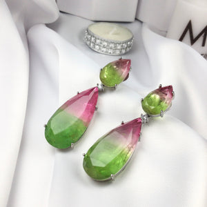 Luxury 2 in 1 Watermelon Tourmaline Fusion Stone Earrings.