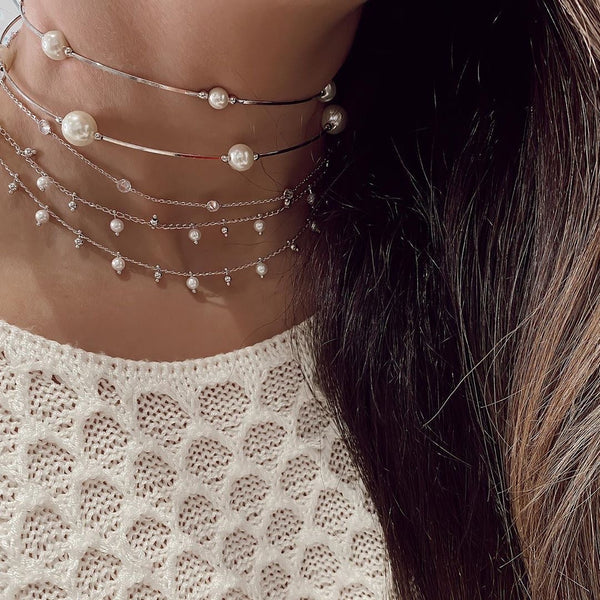 Studded Choker White Rhodium and Pearls