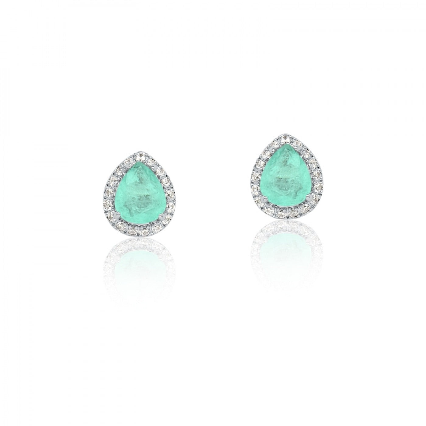 Earring Drop shape Small Blue Light Fusion and Zirconia