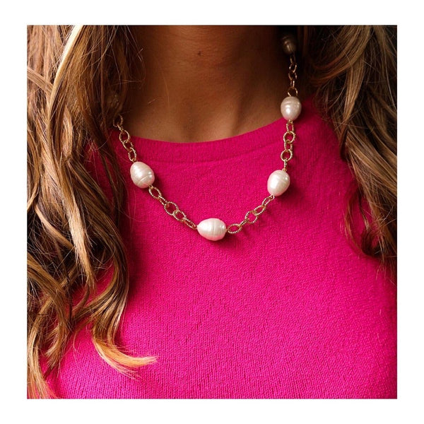 Elegant Baroque Freshwater Pearl Necklace 18K Gold Plated