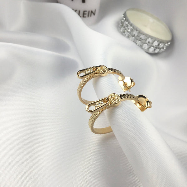 Zipper Hoop Earrings 18k Gold Plated