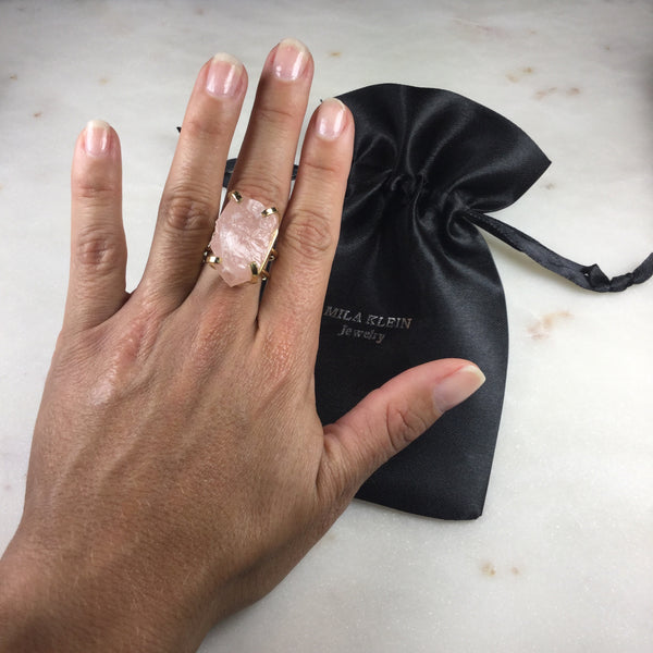 Statement Pink Quartz 18k Gold plated wire ring adjustable