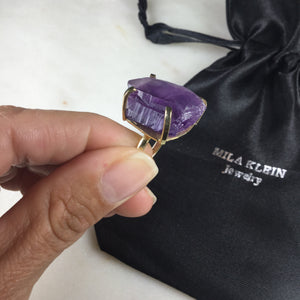 Delicate Raw Amethyst 18K Gold Plated simple band Ring Adjustable
