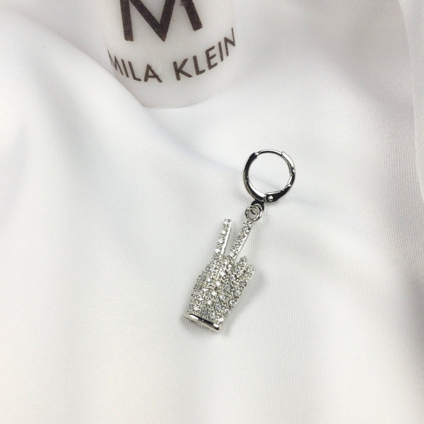 Hand Pendant White Rhodium Plated
