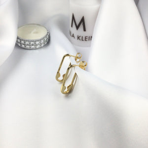 Fashion Safety Pin Earrings 18k Gold Plated