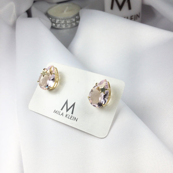Star Light Pink Crystal Earrings 18k Gold Plated