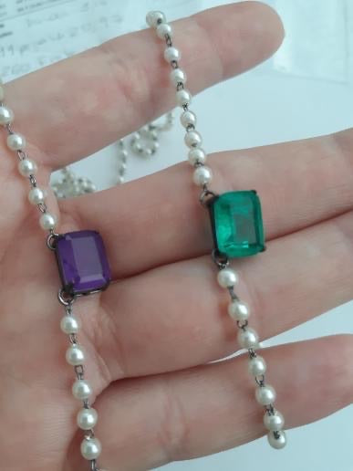 Necklaces Purple and Colombian Emerald
