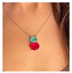 Duo Green Tourmaline and Ruby Necklace