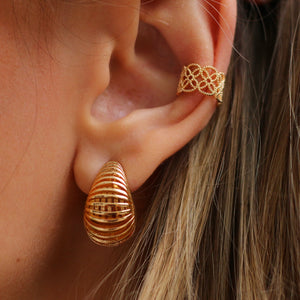SET Modern Boho Hoop Earrings 18K Gold Plated + Ear Cuff