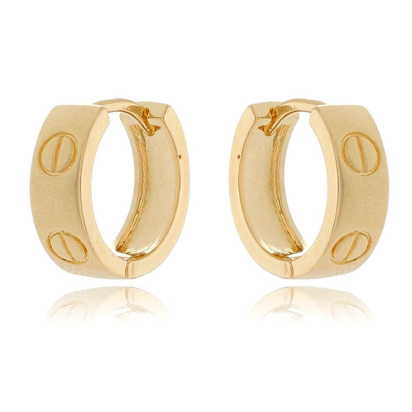 Small screw Hoop Earrings 18K Gold Plated