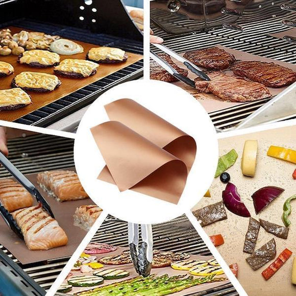 2pcs Ultimate Kitchen Copper Chef Grill Mats