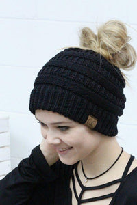 Messy Bun Knitted Beanie