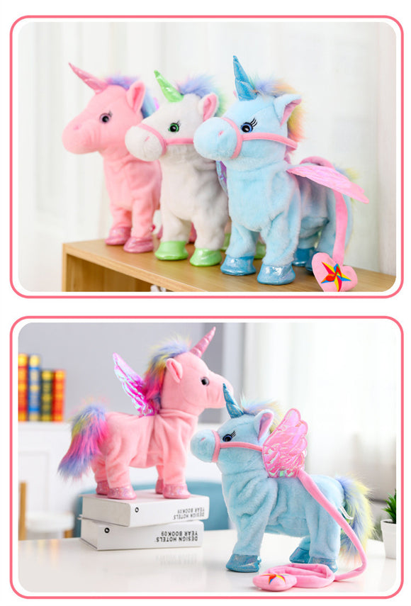 Electric Musical Walking Unicorn Plush Toy and Stuffed Animal