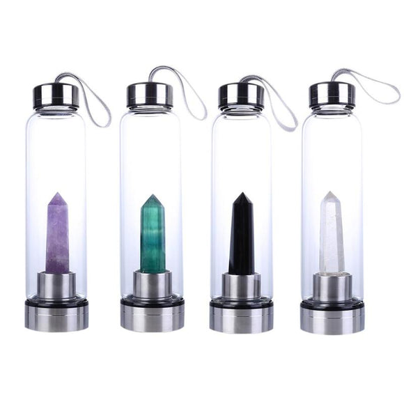 Natural Crystal Healing Obelisk Wand Elixir Quartz Crystal Water Bottle