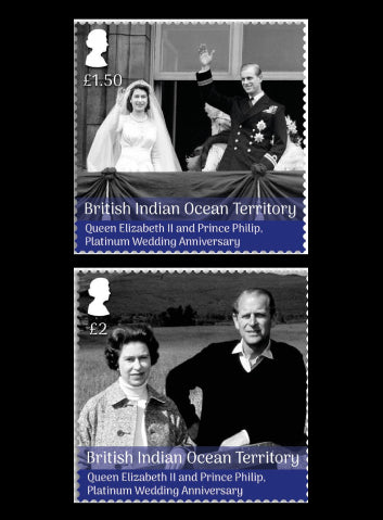 British Indian Ocean Territory Platinum Wedding Anniverary of HM Queen Elizabeth II & HRH Prince Philip 4 value set 20/11/17