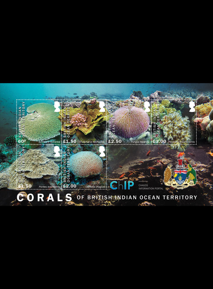 British Indian Ocean Territory Corals 6 value minature sheet 5/9/17