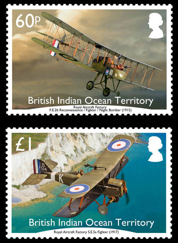 British Indian Ocean Territory  WW1 Aircraft in British Service 6 value set   6/3/17