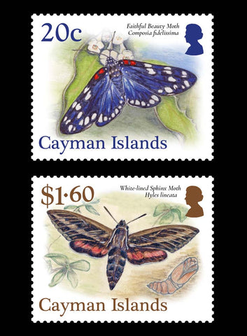 Cayman Islands Moths 4 value set 12/10/17