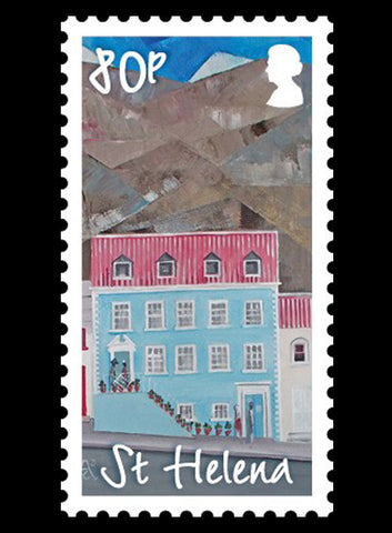 St Helena Paintings of Main St. Buildings se-tenenant 4 value strip 1/1/15