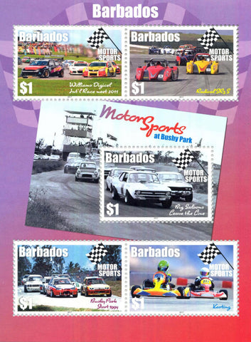 Barbados Motorsport 5 value  miniature sheet 12/6/17
