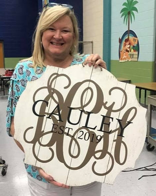 02/01/2020 (10am) Monogram Doorhanger Workshop at Green Side Up Garden & Gifts (Southern Pines)