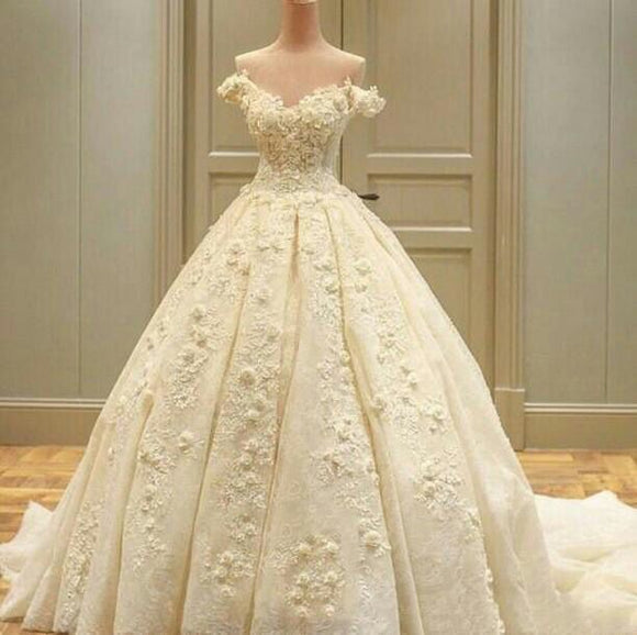 Luxury flowers wedding dress with off the shoulder straps wedding dress