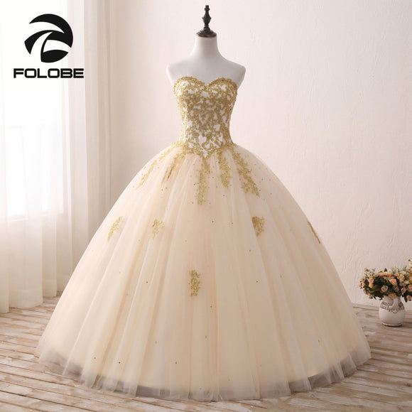 Sweetheart Luxury Gold Appliques Lace Ball Gown
