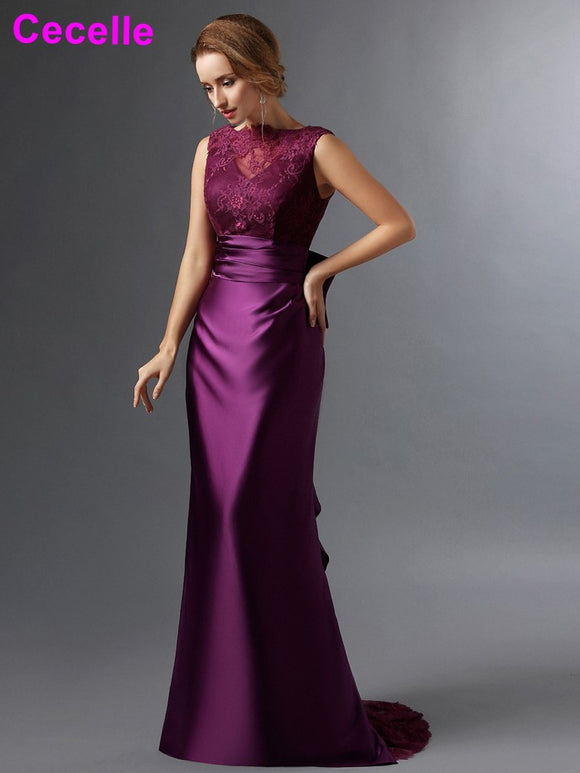 Purple Sheath Long Mother of the Bride Dresses