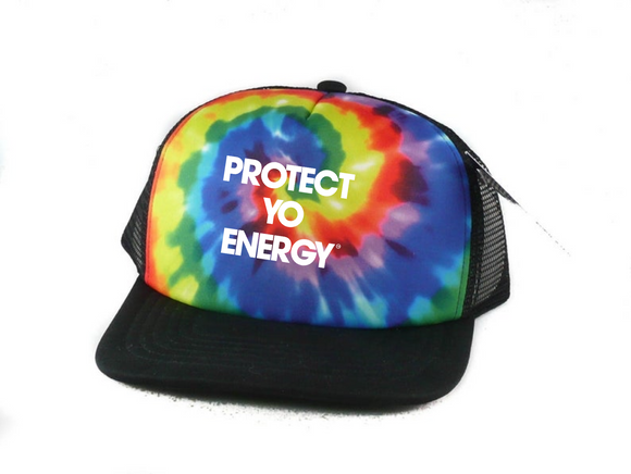 Chakra Tie Dye Trucker Hat - PROTECT YO ENERGY #1 SELF HEALING BRAND FOR TOOLS AND SOLUTIONS