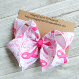 "Breast Cancer Awareness 4"" Hair Bow"