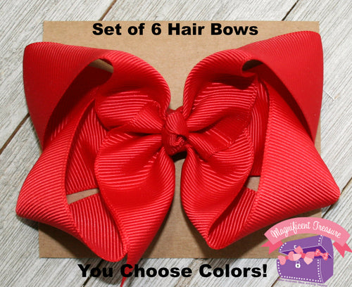 Set of 6 -  4 Inch Boutique Hair Bows - You Choose Colors