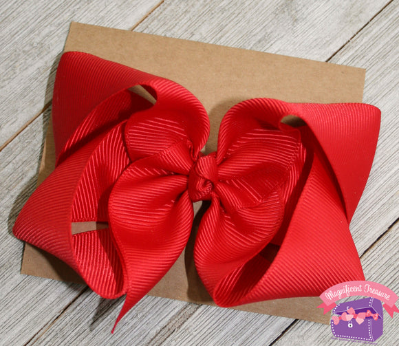 4 Inch Girls Hair Bow Double Prong Alligator Clip Tilted View