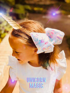 "6"" Unicorn Ribbon Hair Bow"