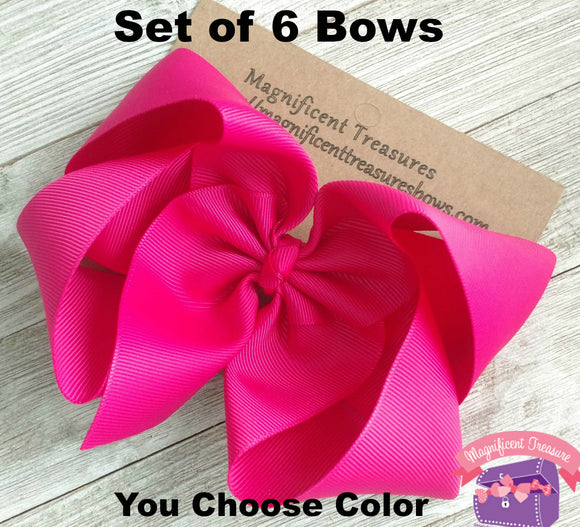 Set of 6 - XL 6 Inch Boutique Bow  2.25 Inch Ribbon, Buy 5/Get 1 FREE