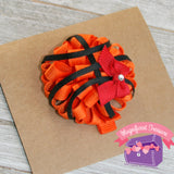 Basketball Puff Hair Bow your team color side view