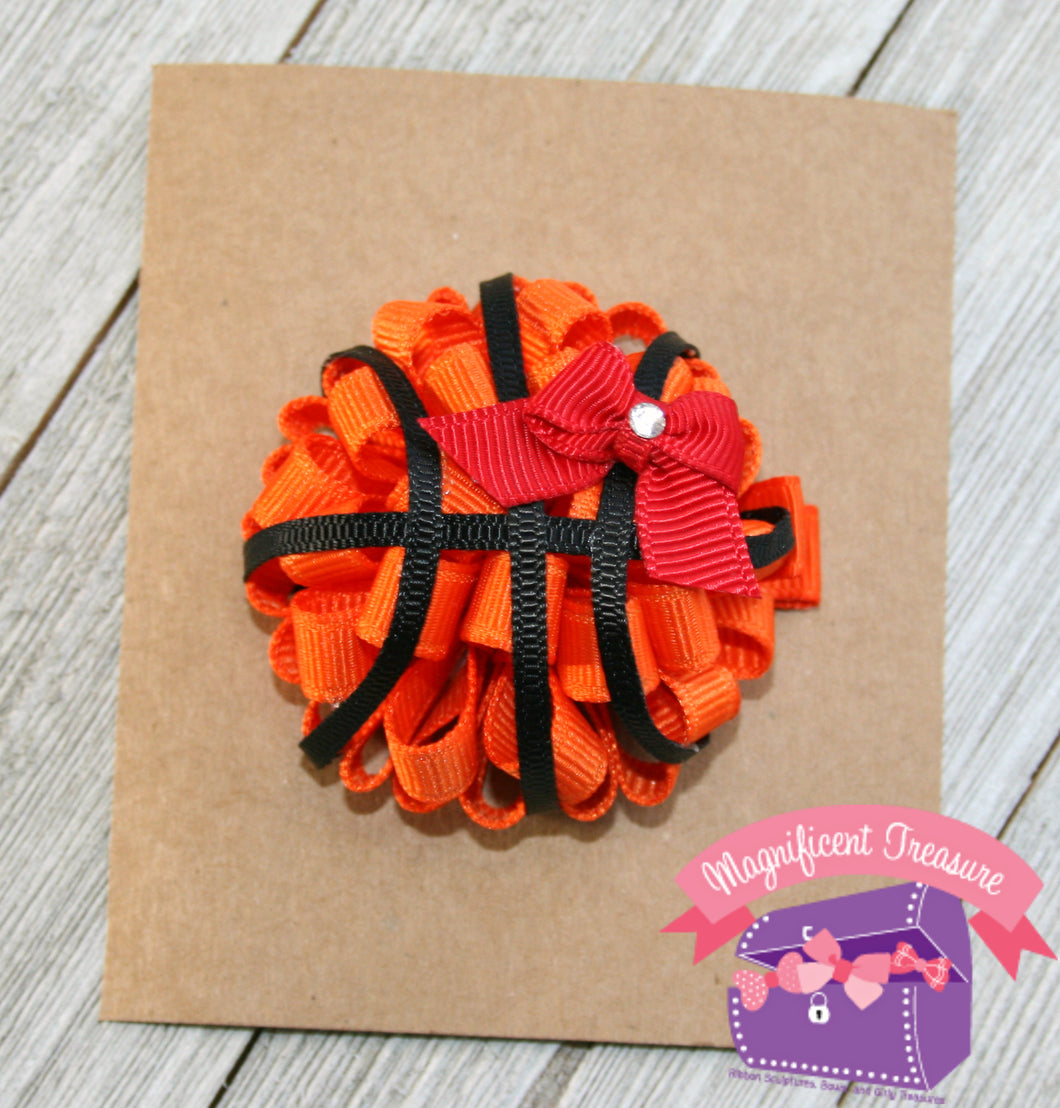 Basketball Puff Hair Bow - Your Team Color - Magnificent Treasures