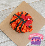 Basketball Puff Hair Bow your team color tilted view