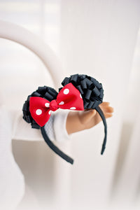 Minnie Mouse Ears Doll Headband with Ribbon Puff Ears