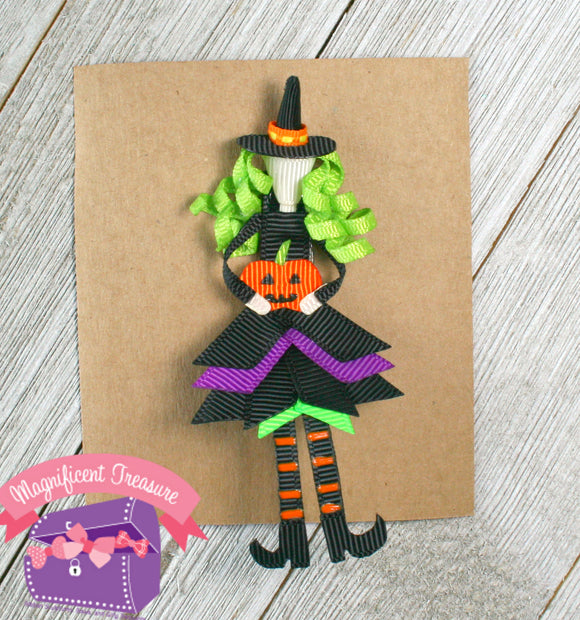 Halloween Witch Ribbon Sculpture Hair Bow or Pin Front View
