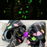 "4"" Glow in the Dark Spider Web Ribbon Hair Bow"