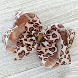 "4"" Leopard in Love Ribbon Hair Bow"