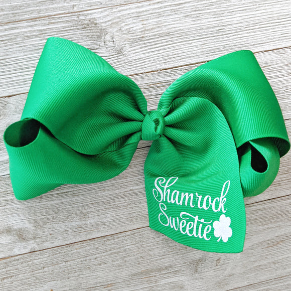 Jumbo 6-7 Inch St. Patrick's Day Ribbon Hair Bow