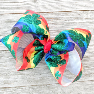 "Glittery Rainbow Shamrocks 4"" Ribbon Hair Bow"